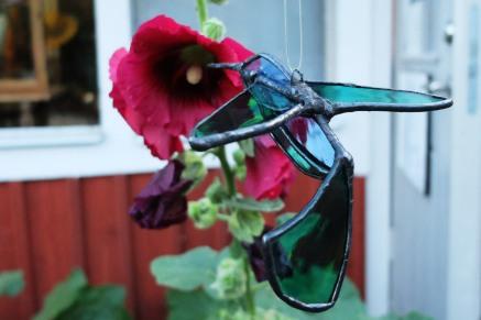 Åsa Maria Hermansson Stained glass Hummingbird bluegreen