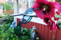Åsa Maria Hermansson Stained glass Hummingbird flower