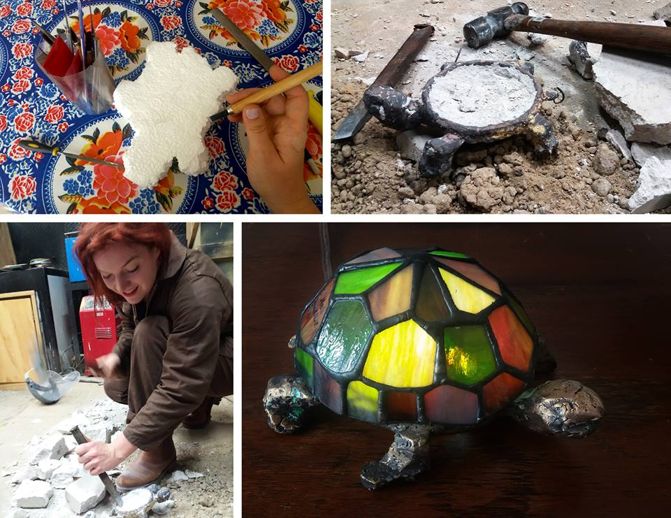 Asamariahermansson_Stained glass turtle with casted bronze base_6